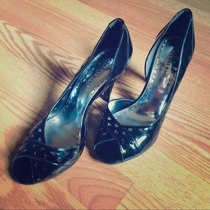Gianni Bini Peep Toe Heels with Heart Cutouts